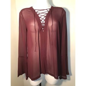 Leith   Sheer peasant top   Oxblood   S